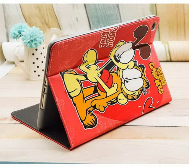 Apple iPad Mini 1, iPad Mini 2, iPad Mini 3, iPad Mini 4, iPad 2, iPad 3, iPad 4, iPad Air 2, iPad Pro 9.7 Inch silicone Case Cartoon with Garfield hero pattern