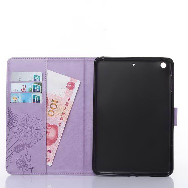 Apple iPad butterfly flower case with holder card Flip for iPad Mini 4