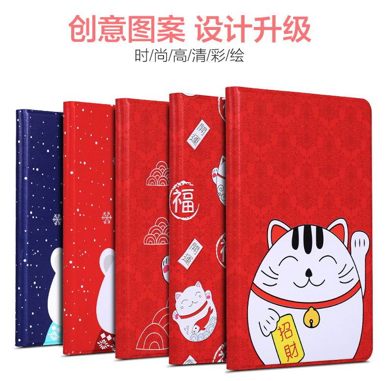 Apple iPad Mini 4 protective case with red cats and bears cartoon pattern