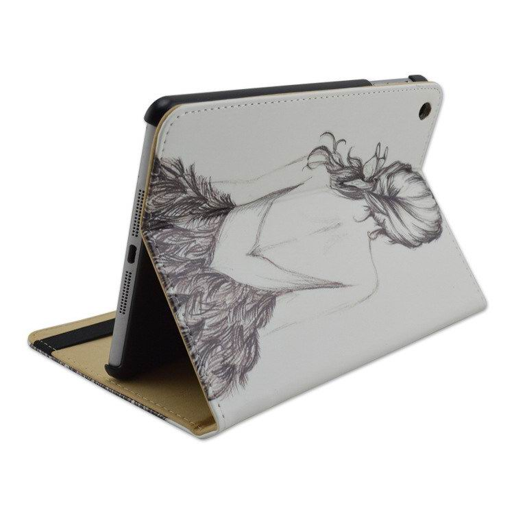 iPad case with back girl pattern for  Apple iPad Mini 1, iPad Mini 2, iPad Mini 3, iPad Mini 4