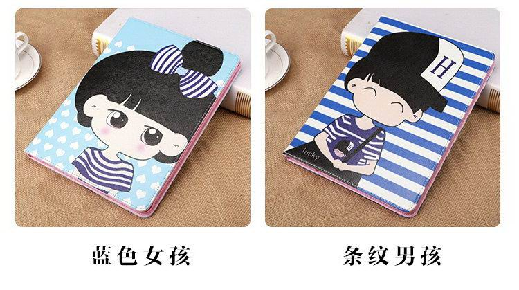 iPad case with cartoon boy and girl in love pattern for Apple iPad 2, iPad 3, iPad 4, iPad Mini 1, iPad Mini 2, iPad Mini 3, iPad Air 1