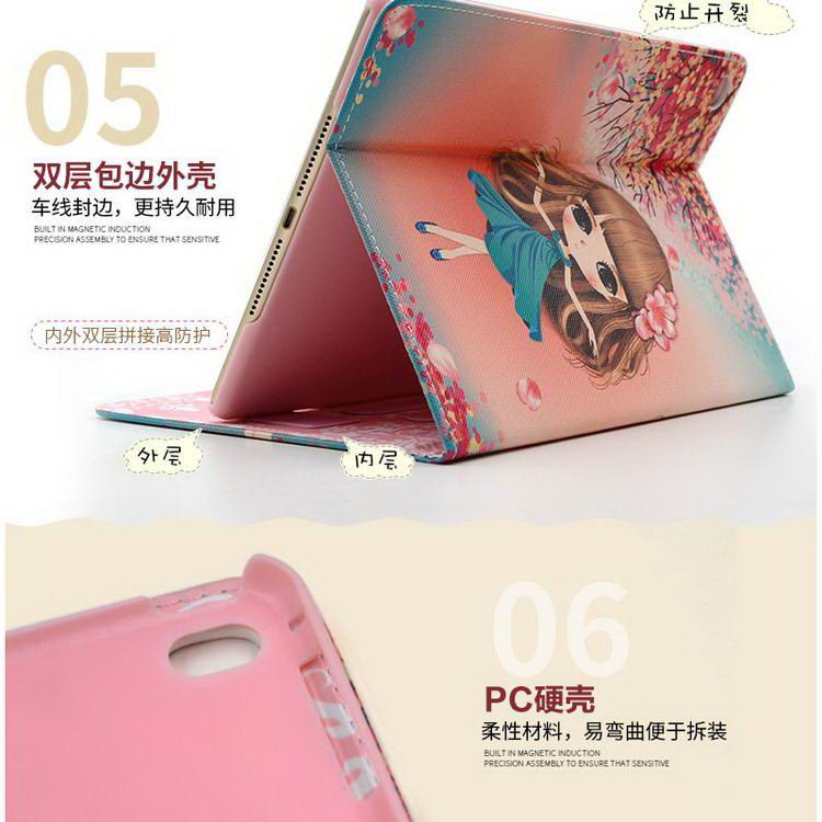 iPad case with cute girl pattern for Apple iPad 2, iPad 3, iPad 4, iPad Mini 1, iPad Mini 2, iPad Mini 3, iPad Mini 4, iPad Air 1, iPad Air 2