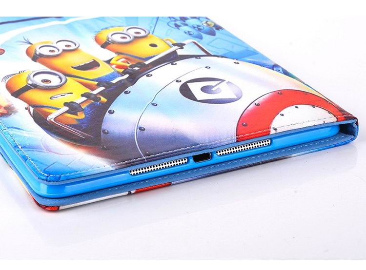 iPad case with Minion cartoon pattern for Apple iPad Mini 1, iPad Mini 2, iPad Mini 3, iPad Mini 4, iPad Air 1, iPad Air 2