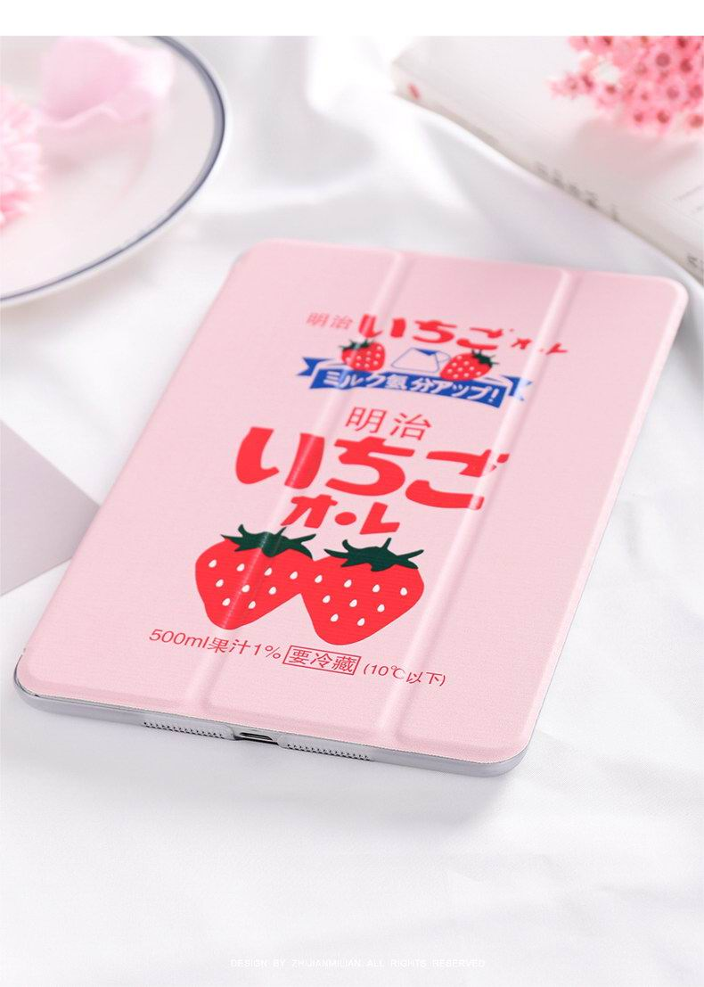 iPad case with strawberry Meiji pattern for Apple iPad 2, iPad 3, iPad 4, iPad Mini 1, iPad Mini 2, iPad Mini 3, iPad Mini 4, iPad Air 1, iPad Air 2, iPad Pro 9.7 Inch