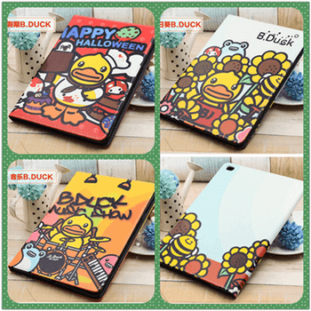 iPad cover with B. Duck cartoon pattern for Apple iPad 2, iPad 3, iPad 4, iPad Mini 1, iPad Mini 2, iPad Mini 3, iPad Mini 4, iPad Air 1, iPad Air 2