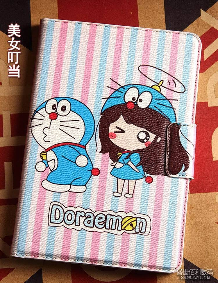 iPad cover with doraemon cartoon pattern for Apple iPad Mini 1, iPad Mini 2, iPad Mini 3