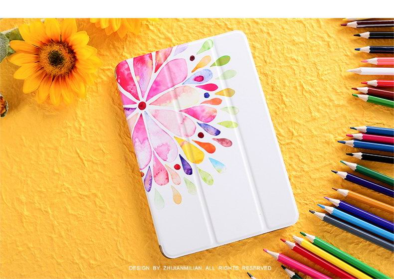 Apple iPad Protective Case with water color flower for iPad Mini 1, iPad Mini 2, iPad Mini 3, iPad Mini 4, iPad 2, iPad 3, iPad 4, iPad Air 1, iPad Air 2, iPad Pro 9.7 inch