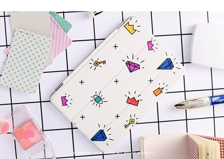 Case with colorful gems pattern for  Apple iPad Mini 1, iPad Mini 2, iPad Mini 3, iPad Mini 4,  Apple iPad 2, iPad 3, iPad 4,  Apple iPad Air 1, iPad Air 2