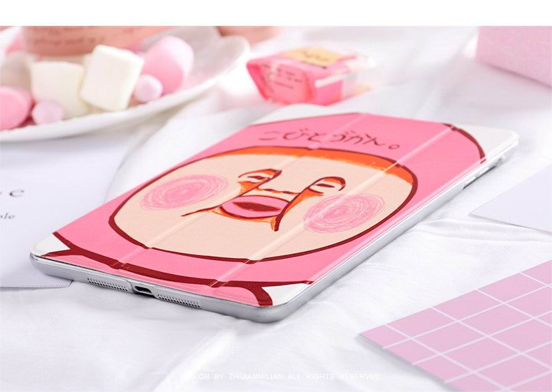 Case with Cute pink peaches drawing for Apple iPad Mini 1, iPad Mini 2, iPad Mini 3, iPad Mini 4, Apple iPad 2, iPad 3, iPad 4, Apple iPad Air 1, iPad Air 2, Apple iPad Pro 9.7 inch