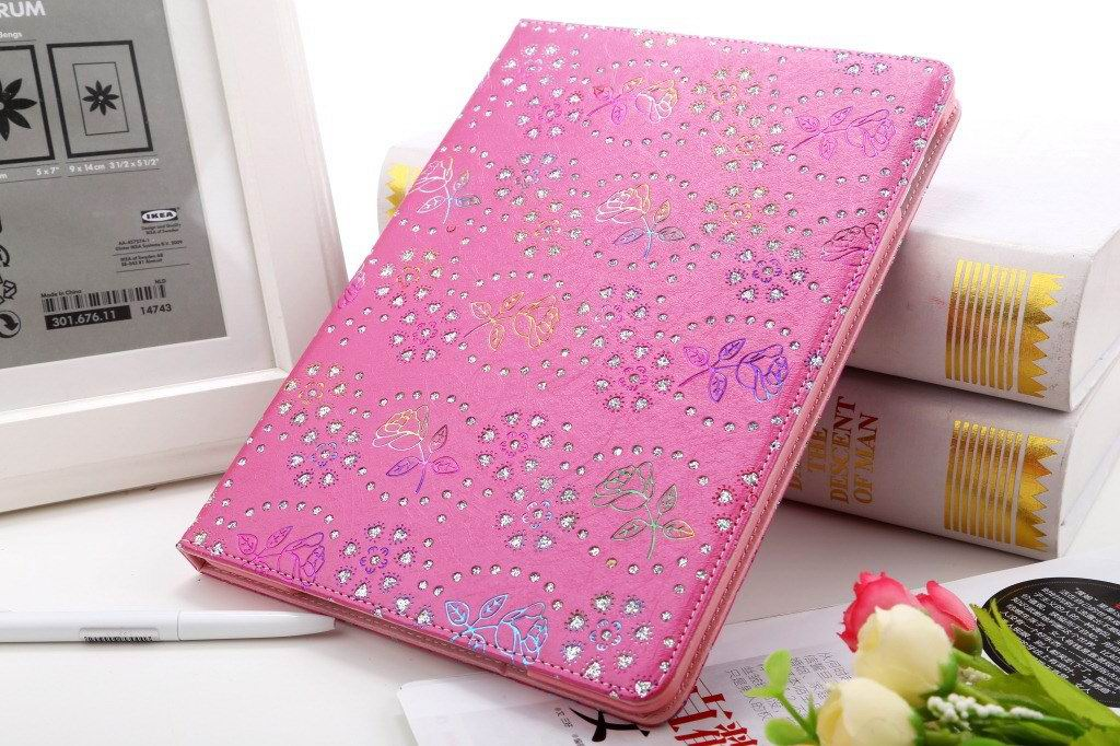 Case with rhinestone flower pattern for Apple iPad 2, iPad 3, iPad 4, Apple iPad Air 1, iPad Air 2, Apple iPad Mini 1, iPad Mini 2, iPad Mini 3