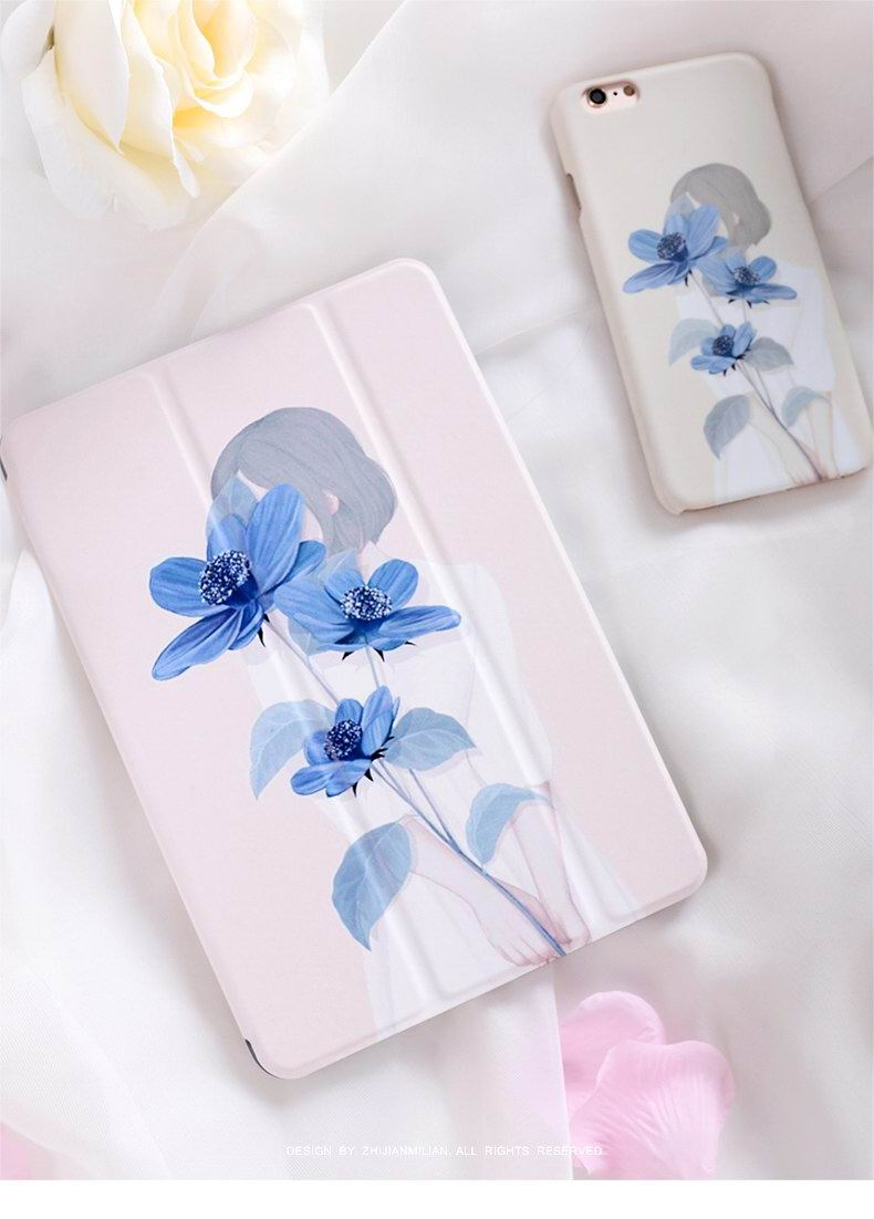 iPad case with girl&flavour for  Apple iPad Mini 1, iPad Mini 2, iPad Mini 3, iPad Mini 4,  Apple iPad 2, iPad 3, iPad 4, Apple iPad Air 1, iPad Air 2,  Apple iPad Pro 9.7 inch