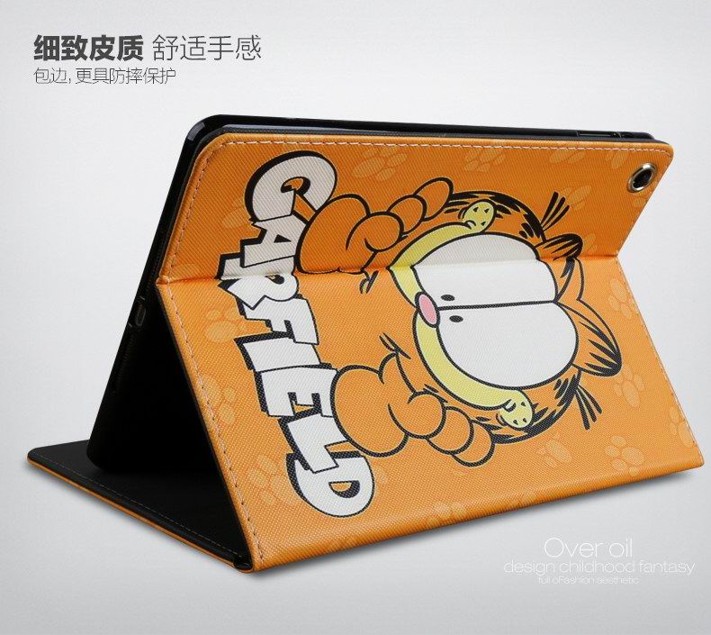 iPad Cute Cartoon case with Garfield cat for Apple iPad Mini 1, iPad Mini 2, iPad Mini 3, iPad Mini 4, Apple iPad 2, iPad 3, iPad 4, Apple iPad Air 1, iPad Air 2, Apple iPad Pro 9.7 inch