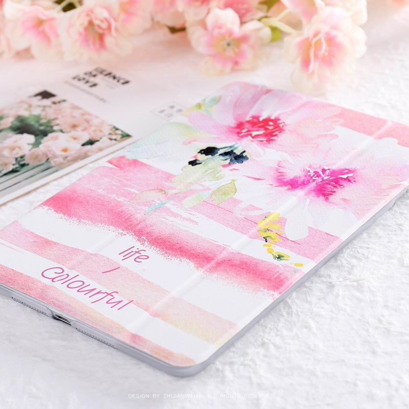 iPad Protective Case with watercolor flowers for Apple iPad Mini 1, iPad Mini 2, iPad Mini 3, iPad Mini 4, Apple iPad 2, iPad 3, iPad 4, Apple iPad Air 1, iPad Air 2, Apple iPad Pro 9.7 inch