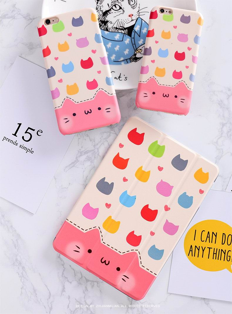 iPad Protective color Cute Cartoon case with Kitty for Apple iPad Mini 1, iPad Mini 2, iPad Mini 3, iPad Mini 4, Apple iPad 2, iPad 3, iPad 4, Apple iPad Air 1, iPad Air 2, Apple iPad Pro 9.7 inch