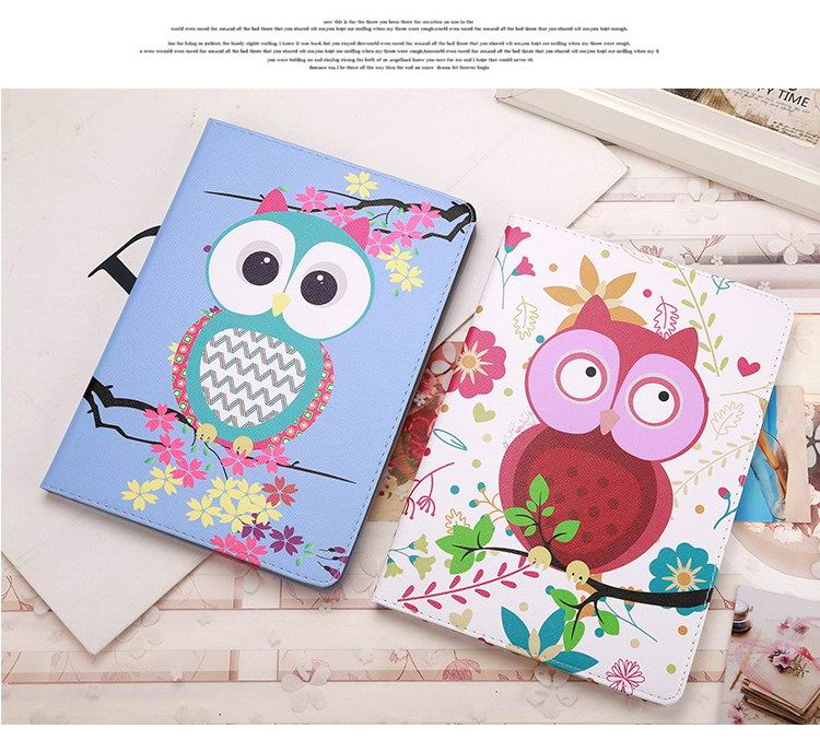 iPad Protective cute case with animal owl & Eiffel Tower for Apple iPad Air 1, iPad Air 2, Apple iPad Mini 1, iPad Mini 2, iPad Mini 3, iPad Mini 4, Apple iPad 2, iPad 3, iPad 4, Apple iPad Pro 9.7 inch