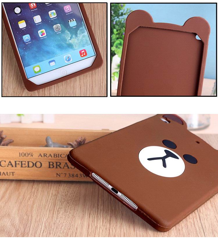 iPad Protective Silicone cover with a cute bear for Apple iPad Mini 1, iPad Mini 2, iPad Mini 3, iPad Mini 4, Apple iPad 2, iPad 3, iPad 4, Apple iPad Air 1, iPad Air 2