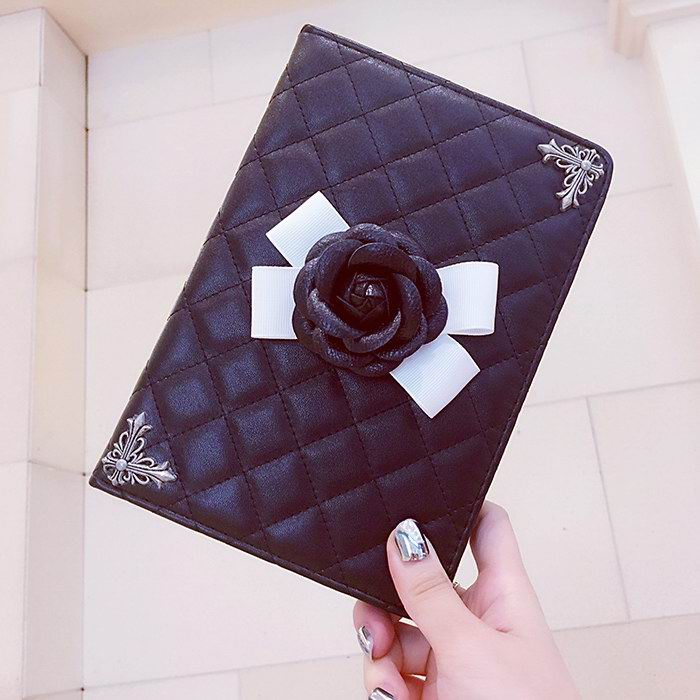 Luxury black & white Case with volume rose flower for Apple iPad Air 1, iPad Air 2, Apple iPad Mini 1, iPad Mini 2, iPad Mini 3, iPad Mini 4, Apple iPad 2, iPad 3, iPad 4