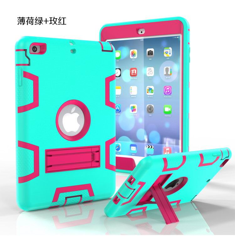 Silicone cover two colors with stand for Apple iPad 2, iPad 3, iPad 4, Apple iPad Air 1, iPad Air 2, Apple iPad Mini 1, iPad Mini 2, iPad Mini 3, iPad Mini 4, Apple iPad Pro 9.7 inch