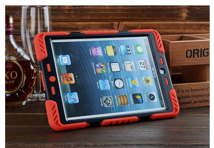 Silicone cover two colors with stand for Apple iPad Mini 1, iPad Mini 2, iPad Mini 3, iPad Mini 4, Apple iPad Air 1, iPad Air 2, Apple iPad 2, iPad 3, iPad 4, Apple iPad Pro 9.7 inch