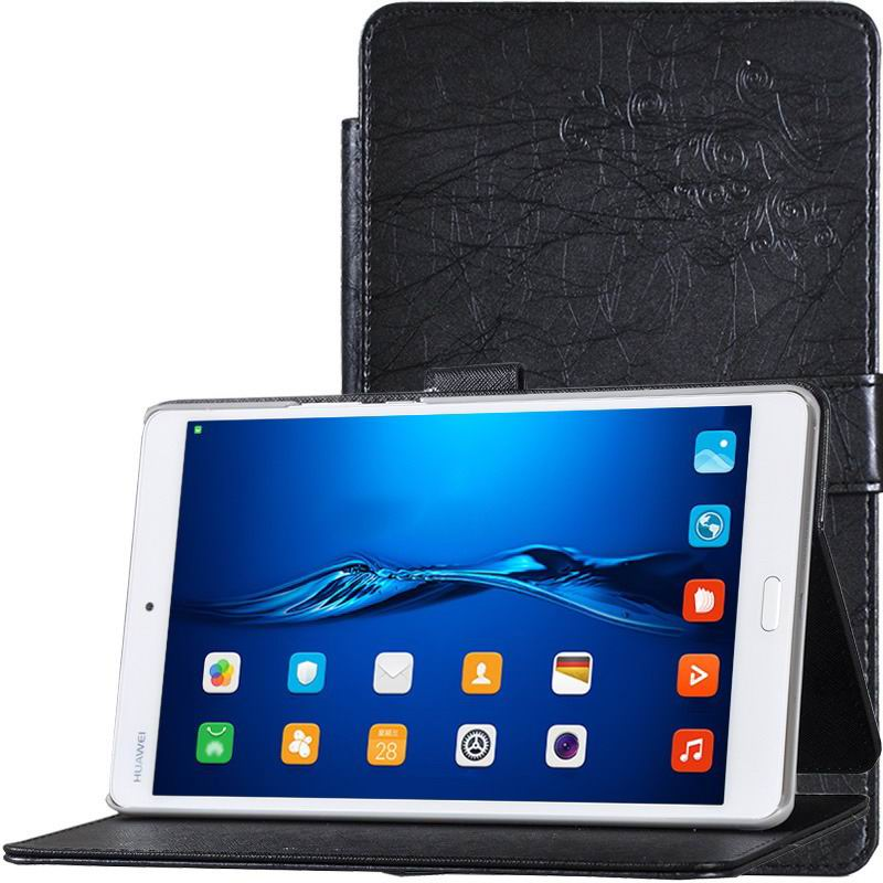mediapad m3 business case simple multicolor pattern and stand black: