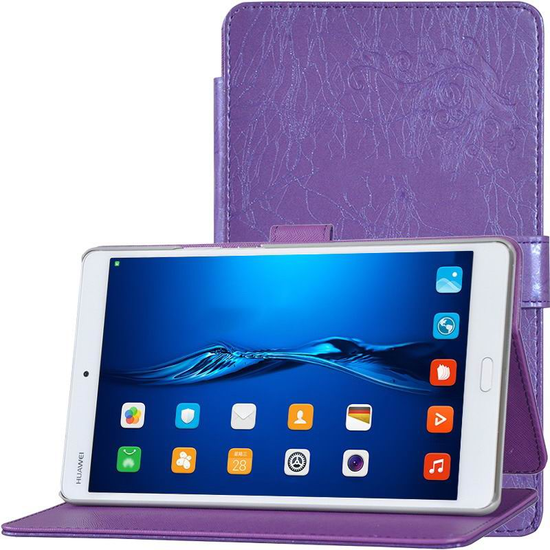mediapad m3 business case simple multicolor pattern and stand purple: