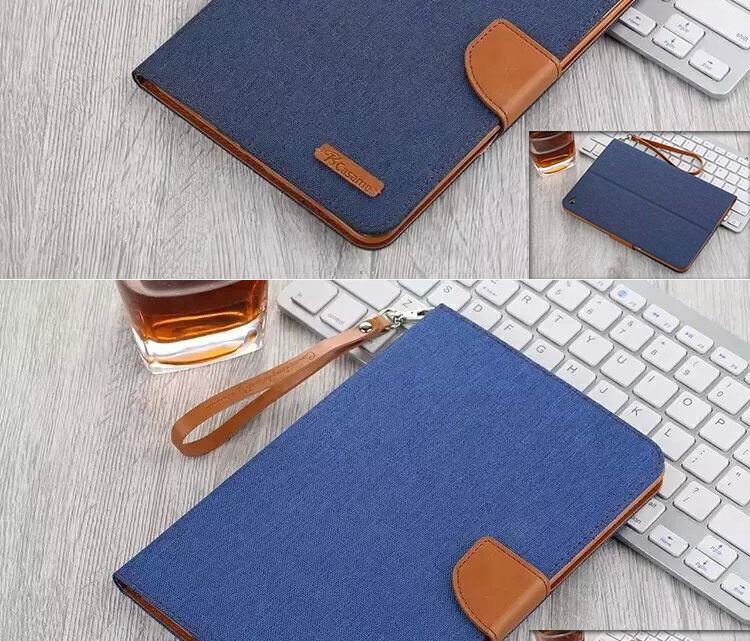 Casame case, business wallet with stand, wrist loop and denim pattern for iPad 2, iPad 3, iPad 4, iPad Mini 1, iPad Mini 2, iPad Mini 3, iPad Mini 4, iPad Air 1, iPad Air 2, iPad Pro 9.7 inch