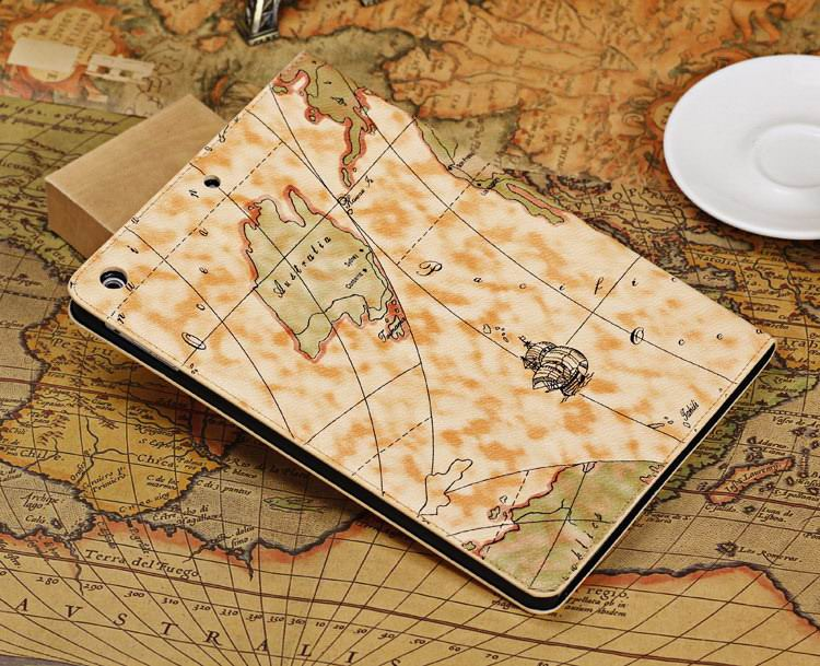 Case with a world map picture for Apple iPad Air 1, iPad Air 2
