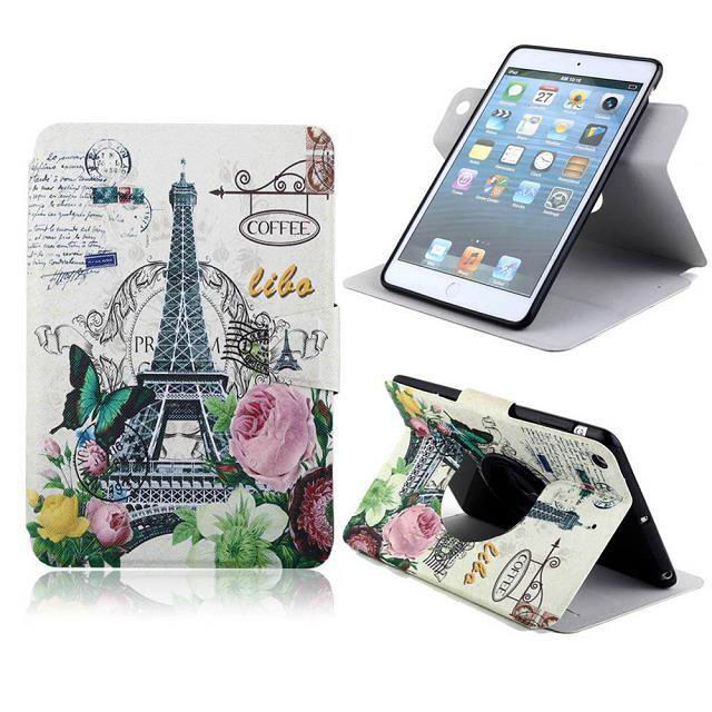 Case with bright pictures of flowers, owl, butterfly, Tower and other for  Apple iPad Mini 1, iPad Mini 2, iPad Mini 3