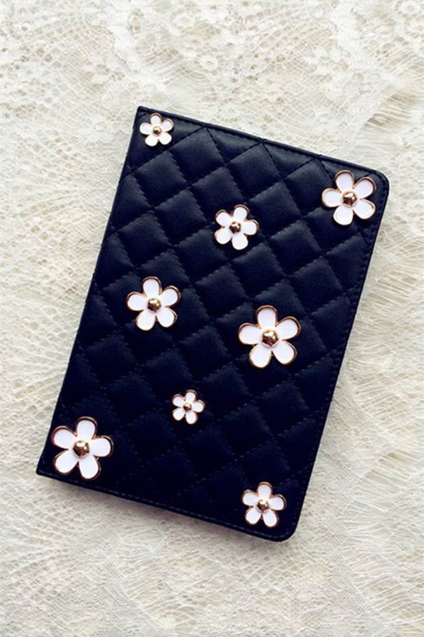 Case with bulk metal flowers black or white color for Apple iPad 2, iPad 3, iPad 4, Apple iPad Air 1, iPad Air 2, Apple iPad Mini 1, iPad Mini 2, iPad Mini 3, iPad Mini 4