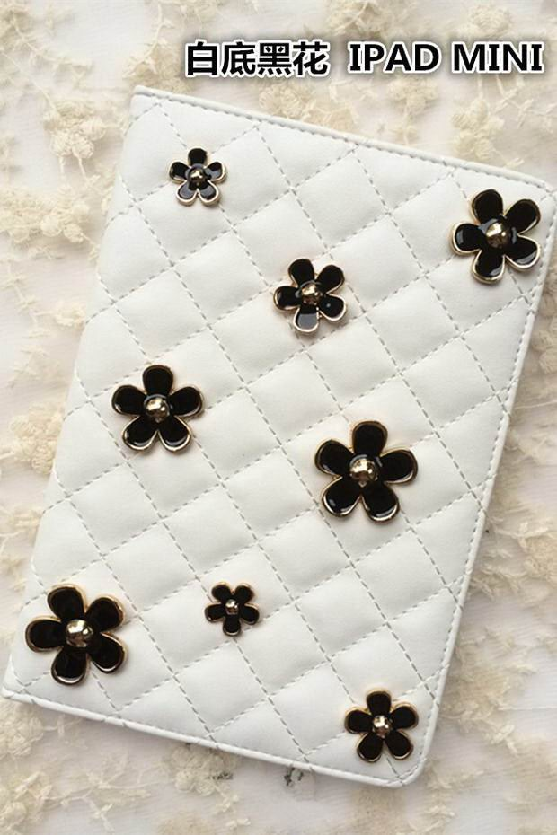 case with bulk metal flowers black or white color for apple ipad 00