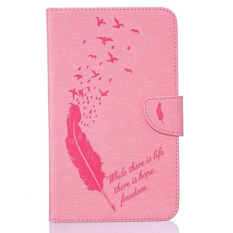 galaxy tab a 7 0 2016 case with business style and feather illustration and stand Pink: