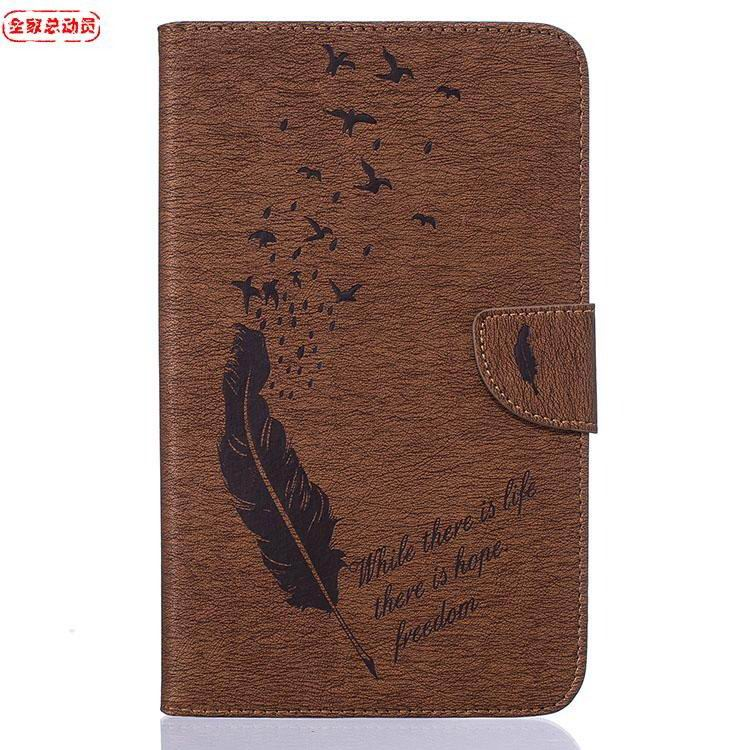 galaxy tab a 7 0 2016 case with business style and feather illustration and stand Brown: