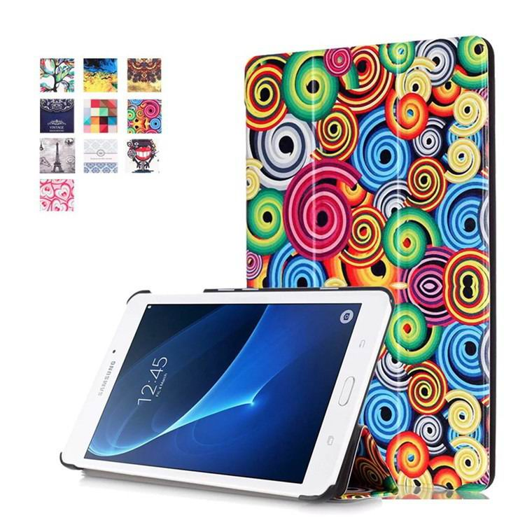 galaxy tab a 7 0 2016 case with business style and multi painting illustrations Colorful spiral swirling:
