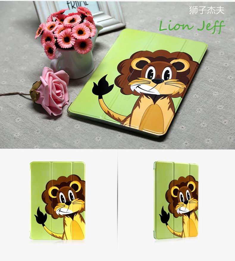 Case with cartoon lion or zebra picture for Apple iPad Air 1, iPad Air 2
