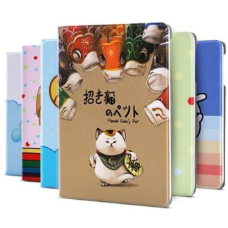 Case with Cartoon pictures of cat, flowers, fruits, girl and other for Apple iPad Mini 4