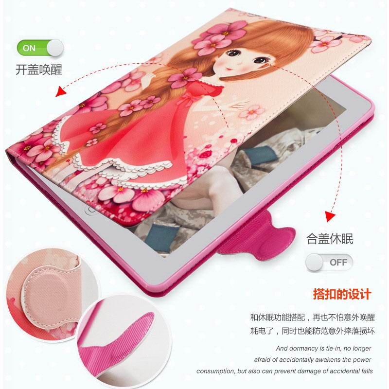 Case with cute cartoon girl for Apple iPad 2, iPad 3, iPad 4, Apple iPad Pro 9.7 inch, Apple iPad Mini 1, iPad Mini 2, iPad Mini 3, iPad Mini 4