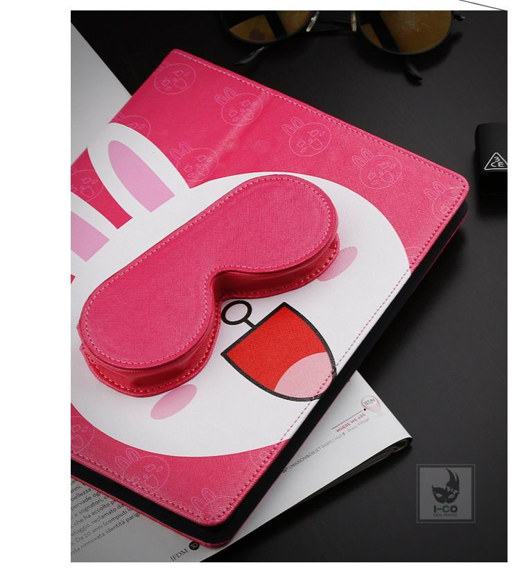 Case with cute pictures of bear & rabbit with a pocket for headphones for Apple iPad Mini 1, iPad Mini 2, iPad Mini 3, iPad Mini 4, Apple iPad 2, iPad 3, iPad 4, Apple iPad Air 1, iPad Air 2