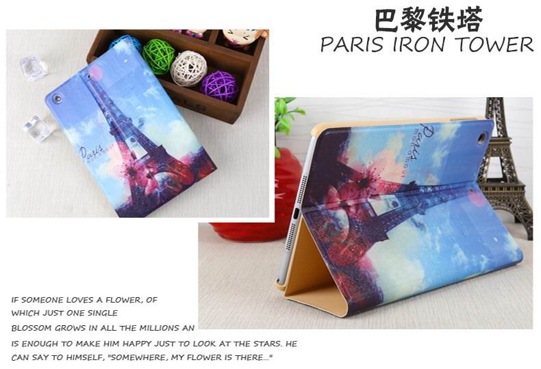 Case with cute pictures of bear, lips, Eiffel Tower and other for Apple iPad Mini 1, iPad Mini 2, iPad Mini 3, iPad Mini 4