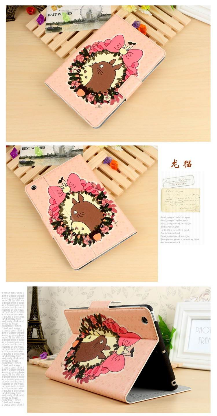 Case with cute pictures of cat, Totoro, dinosaur for Apple iPad Mini 1, iPad Mini 2, iPad Mini 3