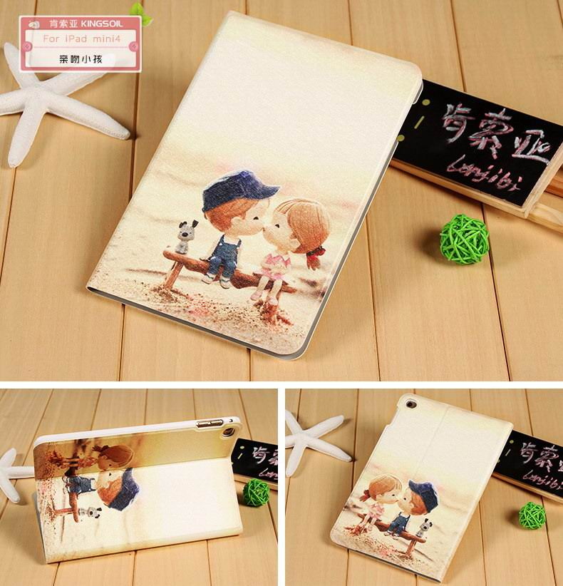 Case with cute pictures of girl, fish, trees for Apple iPad Mini 4