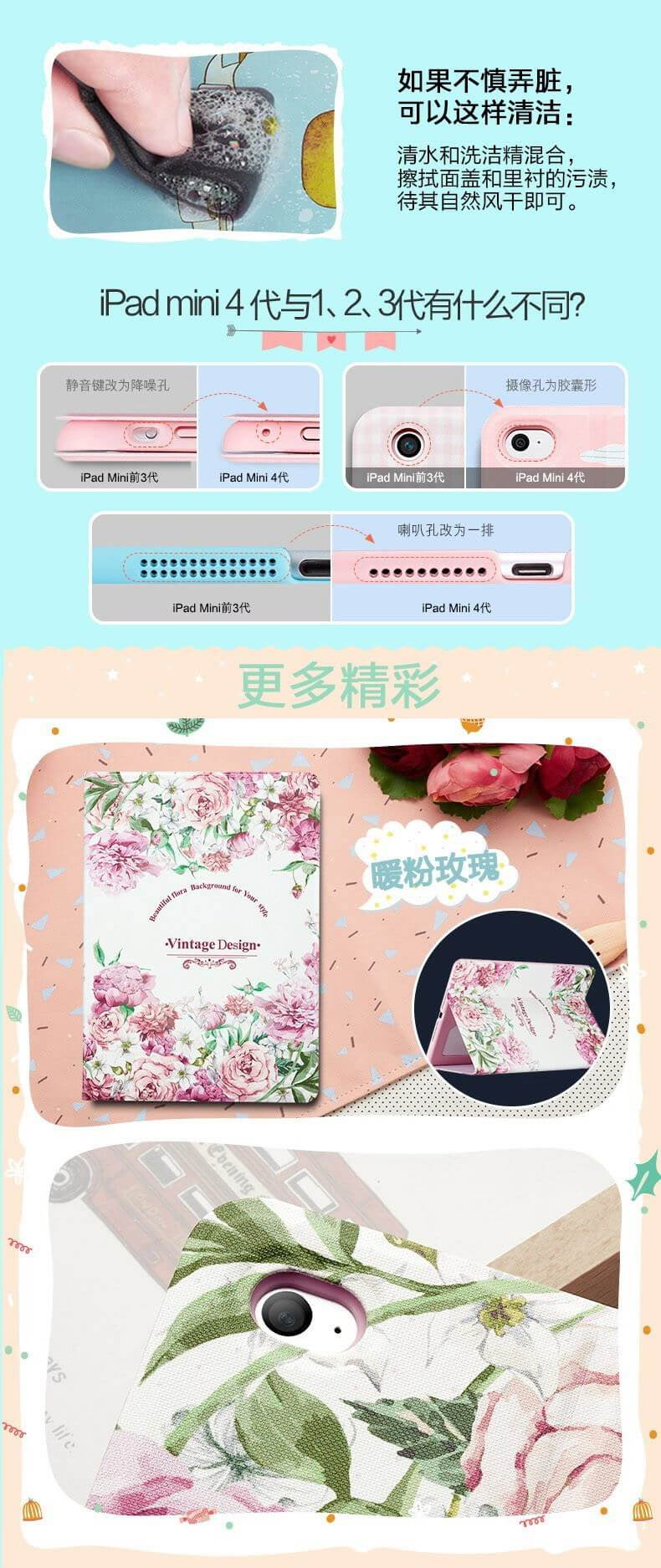 Case with flowers and cute animal pictures for Apple iPad Mini 1, iPad Mini 2, iPad Mini 3, iPad Mini 4