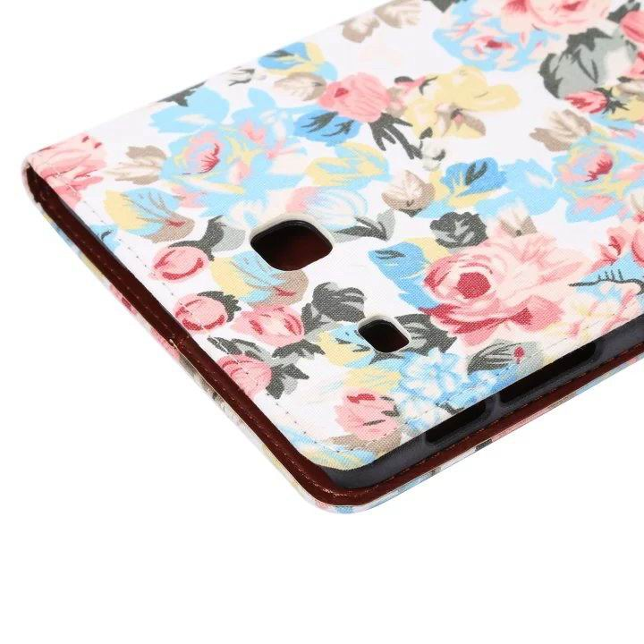 galaxy tab e 8 0 case with flowers pattern stand and cards pockets White: