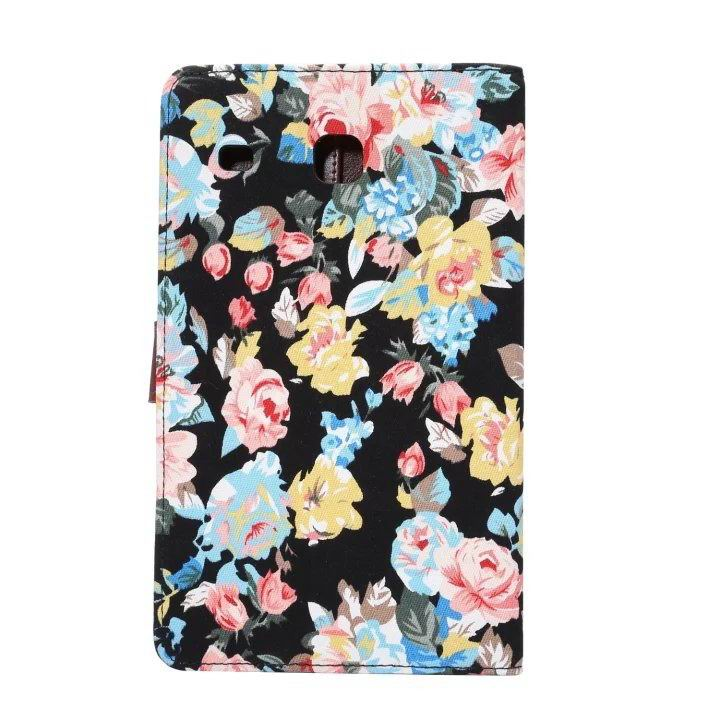galaxy tab e 8 0 case with flowers pattern stand and cards pockets