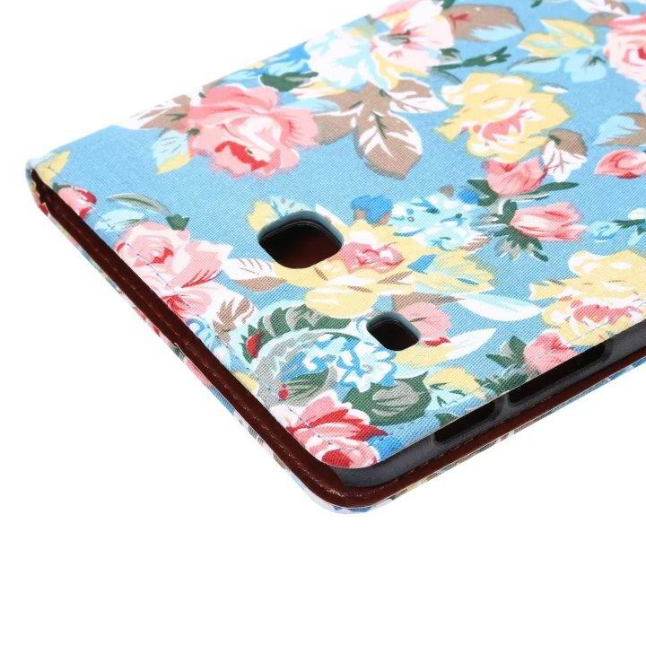 galaxy tab e 8 0 case with flowers pattern stand and cards pockets Blue: