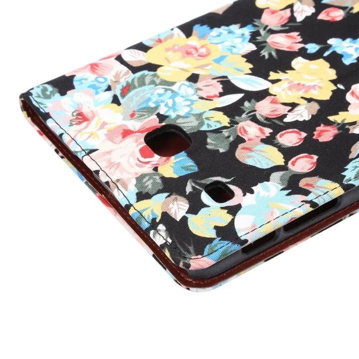 galaxy tab e 8 0 case with flowers pattern stand and cards pockets Black: