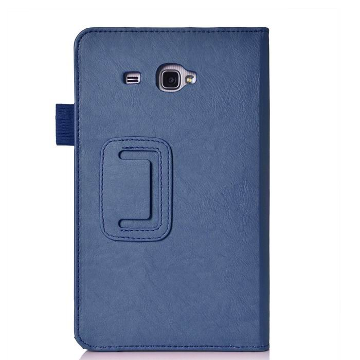 galaxy tab j case with hand loop stand and pockets Blue: