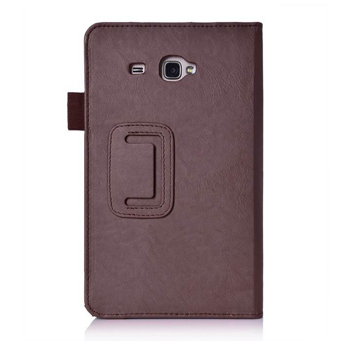 galaxy tab j case with hand loop stand and pockets Brown: