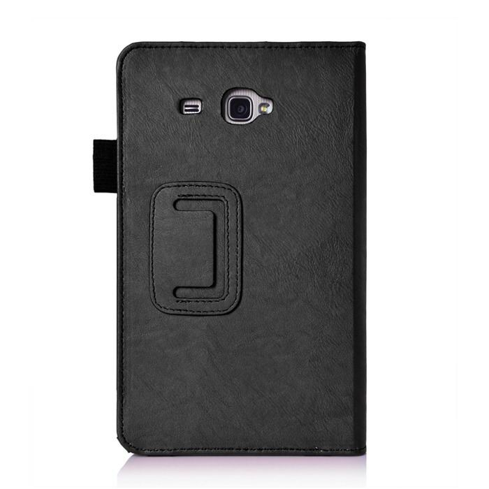 galaxy tab j case with hand loop stand and pockets Black: