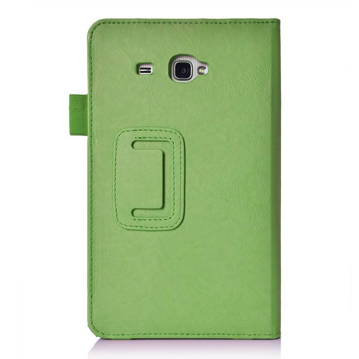 galaxy tab j case with hand loop stand and pockets Green: