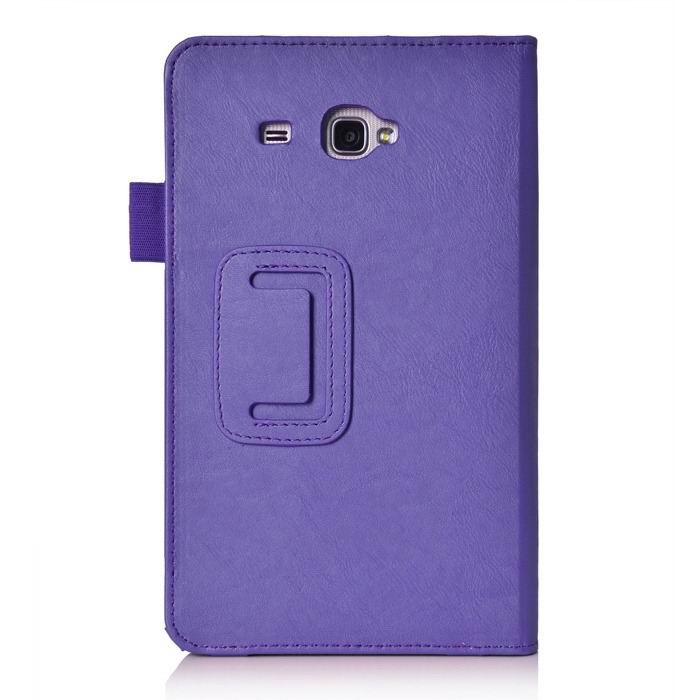 galaxy tab j case with hand loop stand and pockets Purple: